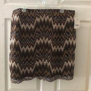 Chevron Embroidered Overlay Skirt